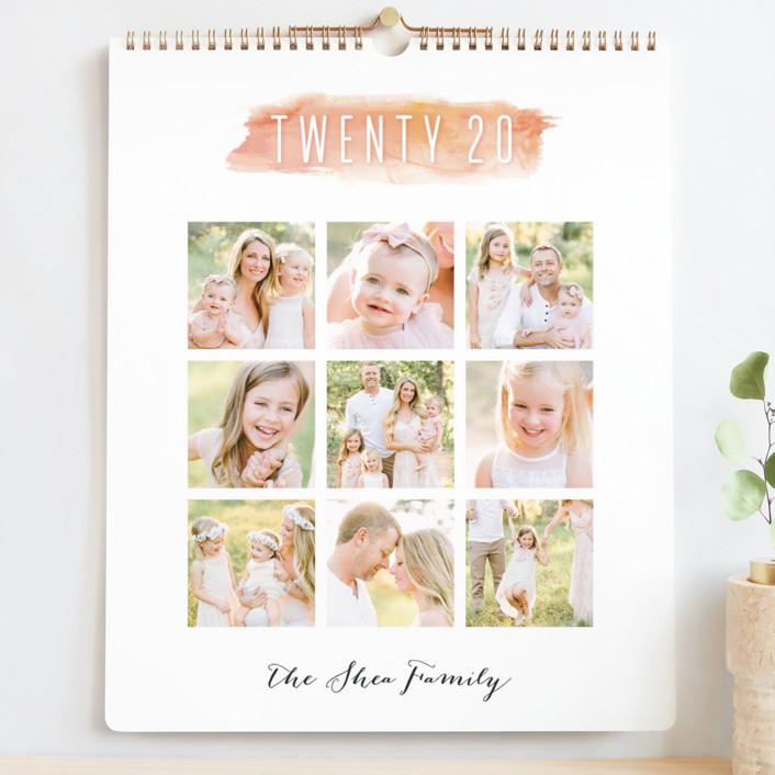 """Watercolor Brush Grand"" - Simple, Minimalist Photo Calendars in Peach by Hooray Creative."