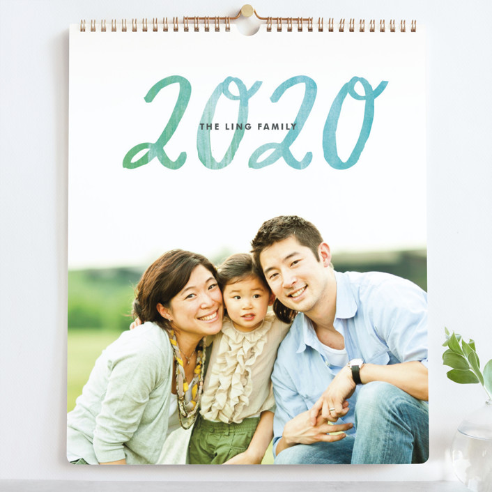 """Painted Script Grand"" - Modern, Hand Drawn Photo Calendars in teal by Alethea and Ruth."