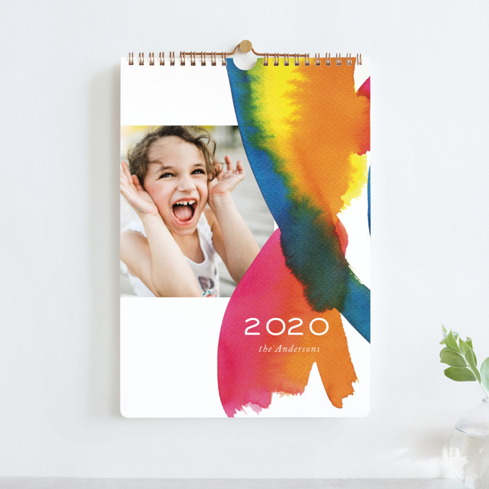 """Colourful watercolor Standard"" - Photo Calendars in Raspberry by Alexandra Dzh."