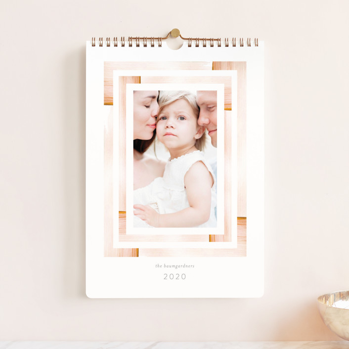 """Aztec Frame Standard"" - Whimsical & Funny, Modern Photo Calendars in Dusty Rose by Baumbirdy."