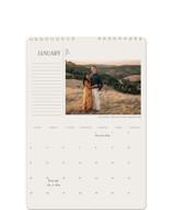 This is a beige photo calendar by Calluna Fine Paper called Indie printing on premium calendar paper in standard.