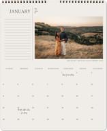 This is a beige photo calendar by Calluna Fine Paper called Indie printing on premium calendar paper in grand.