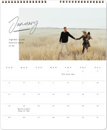 This is a black photo calendar by Creo Study called modern note printing on premium calendar paper in grand.
