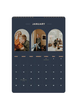 This is a blue photo calendar by Alex Roda called Ovalon printing on premium calendar paper in standard.