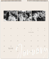 This is a beige photo calendar by Summer Winkelman called brushed trio printing on premium calendar paper in grand.