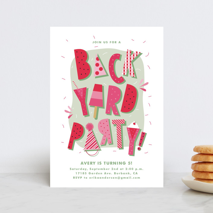 """Backyard Party"" - Petite Children's Birthday Party Invitations in Watermelon by Tatiana Nogueiras."