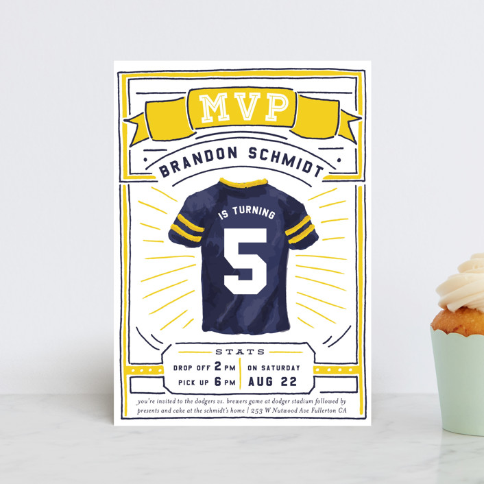 """""""MVP Collectors Card"""" - Petite Children's Birthday Party Invitations in School Bus by Shiny Penny Studio."""