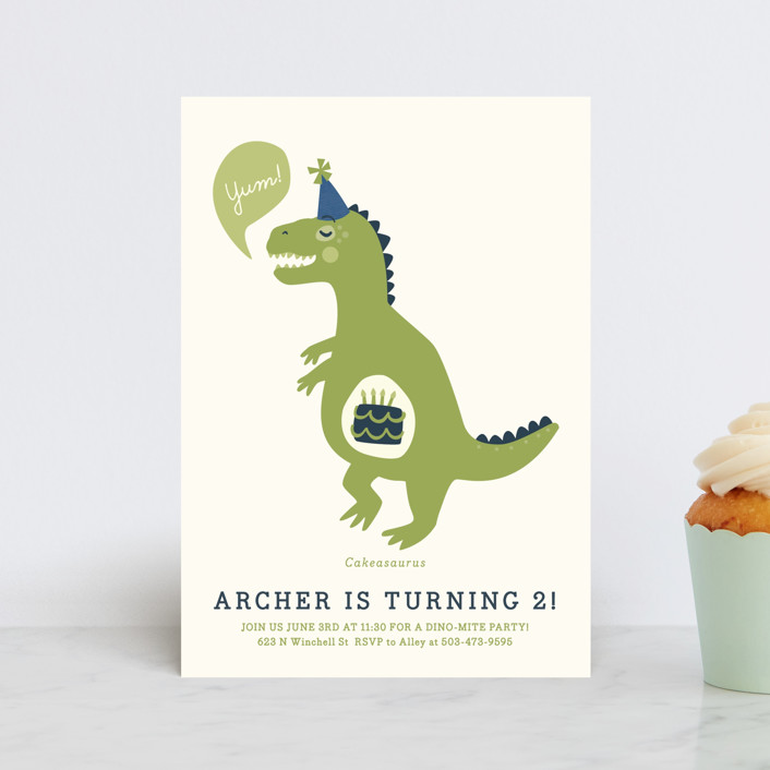 """Cakeasaurus Dinosaur"" - Petite Children's Birthday Party Invitations in Lime by Melissa Egan of Pistols."