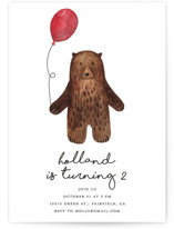 This is a brown petite kids birthday invitation by Remioni called Bear with standard printing on signature in petite.