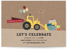 This is a brown petite kids birthday invitation by Rebecca Bowen called Krafting a Party with standard printing on signature in petite.
