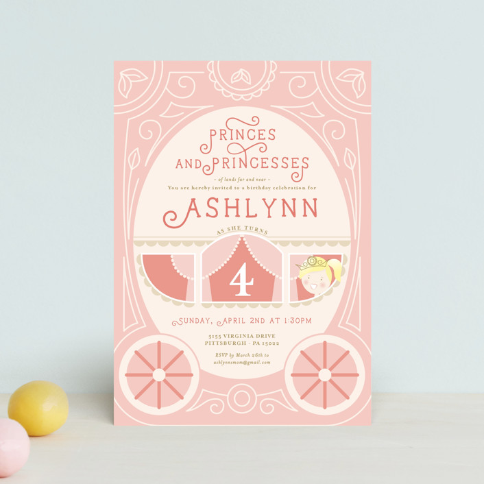 """Princess Carriage"" - Petite Children's Birthday Party Invitations in Cherry Blossom by Erin Niehenke."