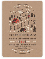 This is a brown petite kids birthday invitation by Jennifer Wick called Lumber Bears with standard printing on signature in petite.