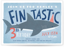 This is a blue petite kids birthday invitation by Karidy Walker called Shark Tank with standard printing on signature in petite.