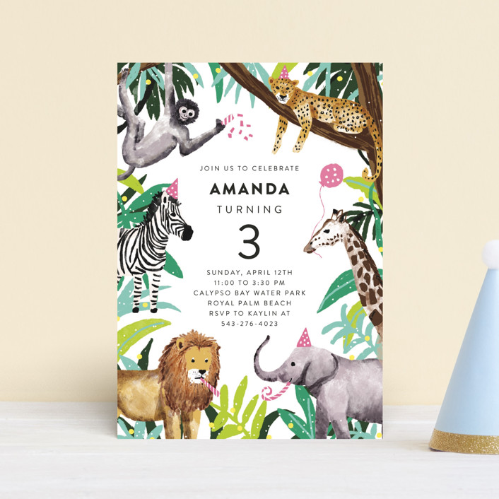 """Jungle Party"" - Petite Children's Birthday Party Invitations in Dragon Fruit by Cass Loh."