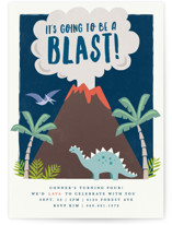 This is a blue petite kids birthday invitation by Karidy Walker called volcano blast with standard printing on signature in petite.
