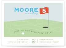 This is a green petite kids birthday invitation by Fraser Lane called Mini Golfers with standard printing on signature in petite.