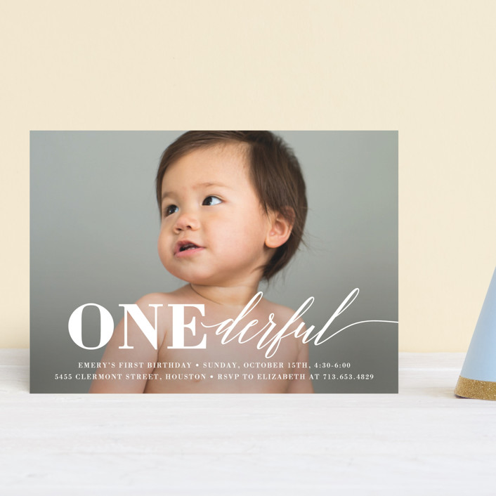 """""""Onederful"""" - Petite Children's Birthday Party Invitations in Cloud by Susan Asbill."""