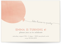 This is a pink petite kids birthday invitation by peony papeterie called Simple Balloon with standard printing on signature in petite.