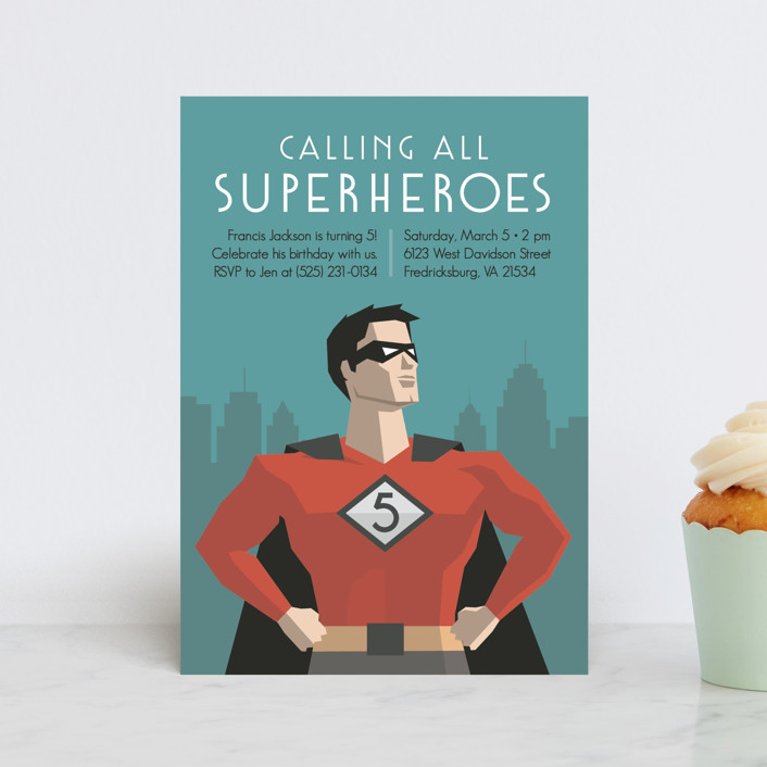 """Calling All Superheroes"" - Petite Children's Birthday Party Invitations in Fire by Jessica Prout."