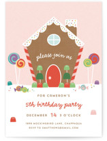 This is a colorful petite kids birthday invitation by Annie Holmquist called Gingerbread House with standard printing on signature in petite.