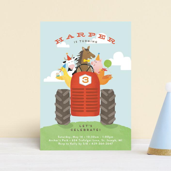 """farm animal friends"" - Petite Children's Birthday Party Invitations in Robin's Egg by Jennifer Wick."