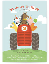 This is a blue petite kids birthday invitation by Jennifer Wick called farm animal friends with standard printing on signature in petite.
