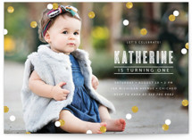This is a white petite kids birthday invitation by Lehan Veenker called Confetti with standard printing on signature in petite.