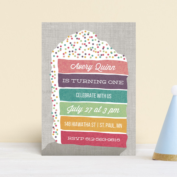 """""""Layer Cake"""" - Petite Children's Birthday Party Invitations in Rainbow by Holly Whitcomb."""