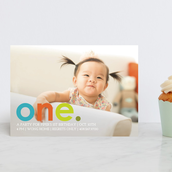"""Colorful One"" - Petite Children's Birthday Party Invitations in Teal by design market."