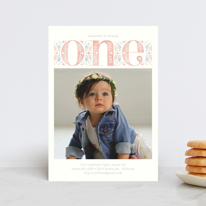 """""""Big One"""" - Petite Children's Birthday Party Invitations in Candy by Ana de Sousa."""