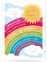 This is a colorful petite kids birthday invitation by Hooray Creative called Joyful Rainbow with standard printing on signature in petite.