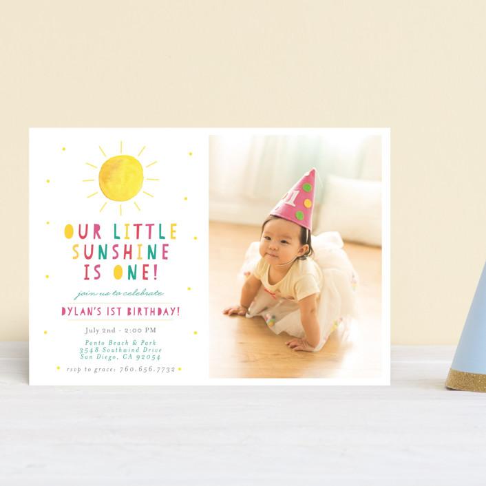 """Little Sunshine"" - Petite Children's Birthday Party Invitations in Petal by Little Print Design."