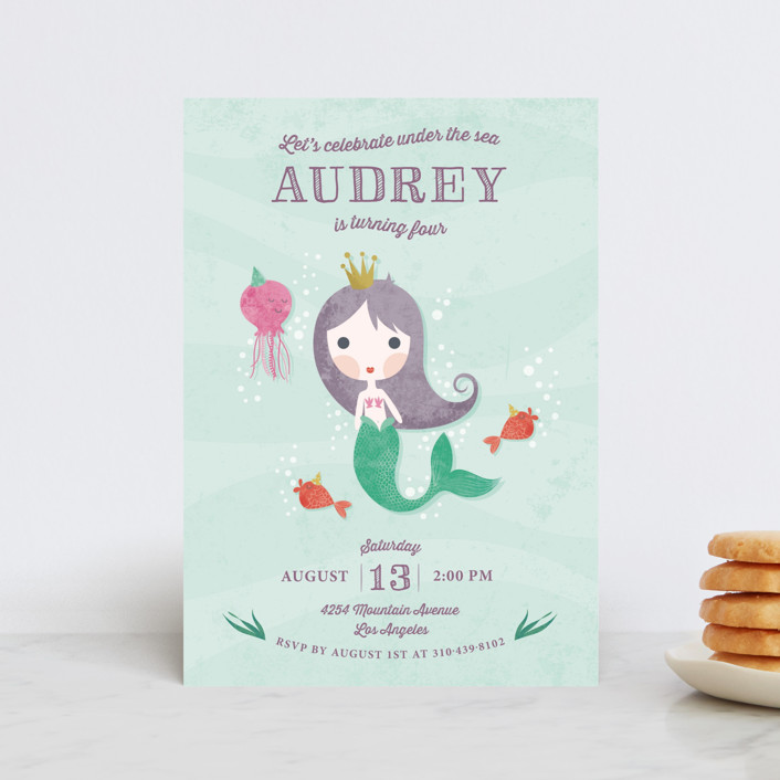 """Mermaid Princess"" - Petite Children's Birthday Party Invitations in Wisteria by Aspacia Kusulas."