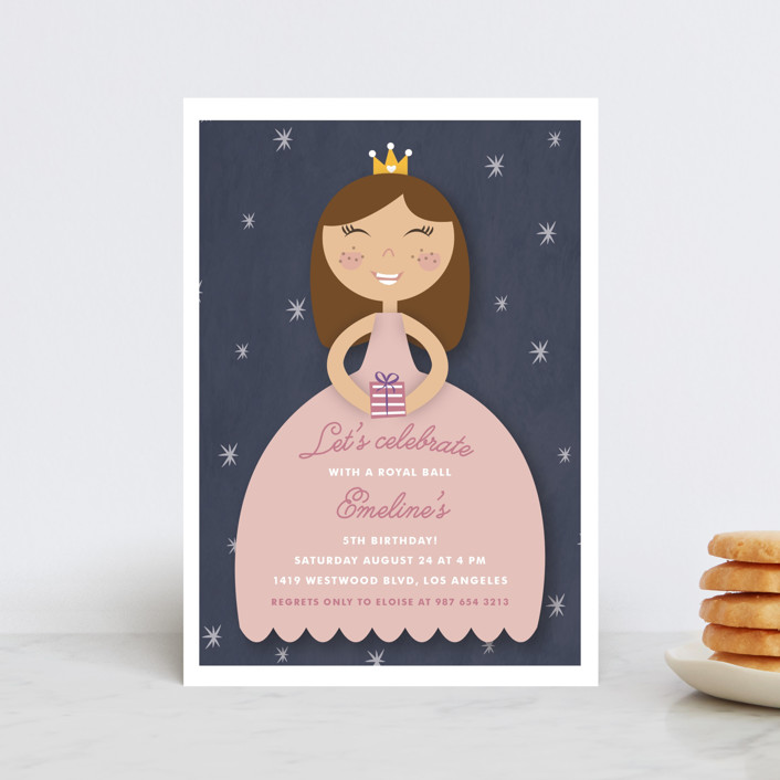 """""""Royal Ball"""" - Petite Children's Birthday Party Invitations in Cindy by Giselle Zimmerman."""