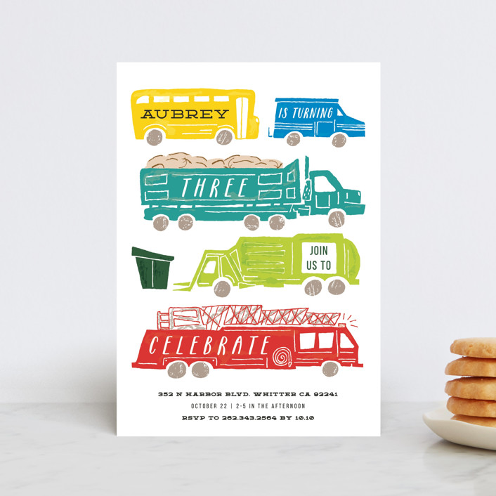 """""""Things that G0"""" - Petite Children's Birthday Party Invitations in Bright Turquoise by Shiny Penny Studio."""