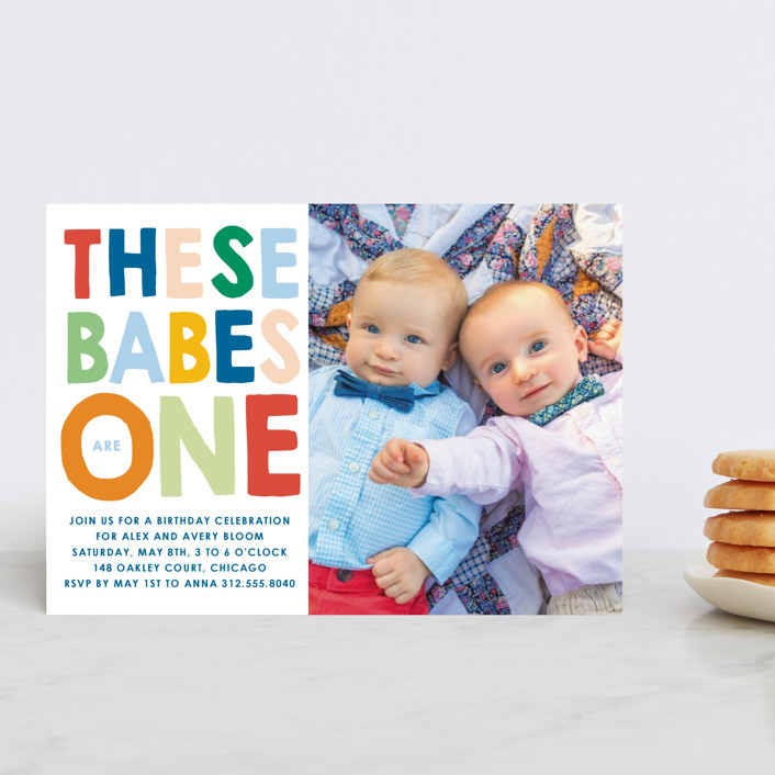 """""""These Babes"""" - Petite Children's Birthday Party Invitations in Mint by Baumbirdy."""