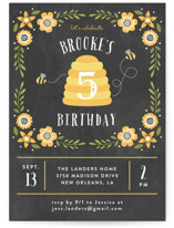This is a black petite kids birthday invitation by Chasity Smith called Bee Day Party with standard printing on signature in petite.