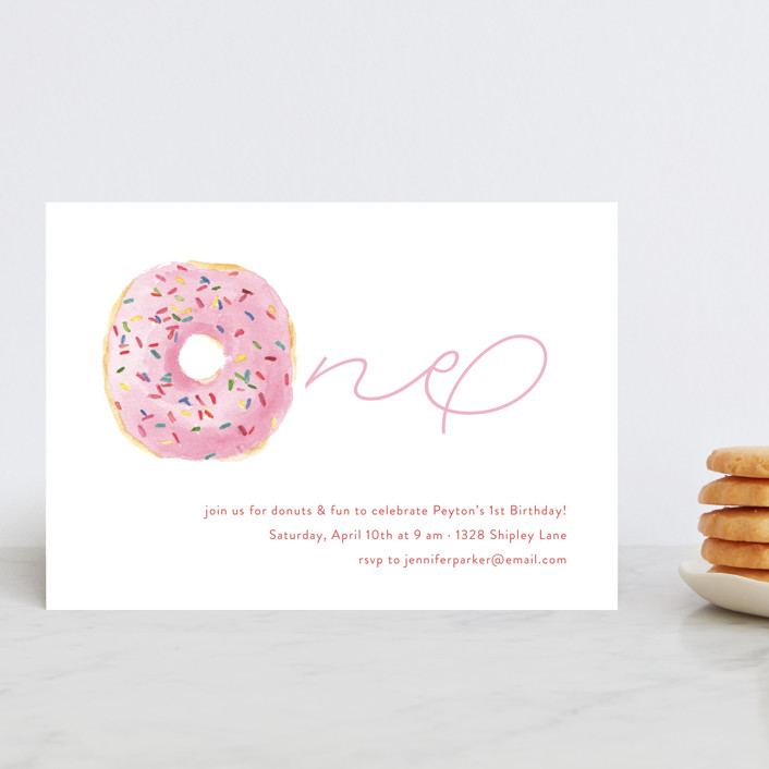 """Sprinkle Me One"" - Petite Children's Birthday Party Invitations in Candy by Lagniappe Paper."