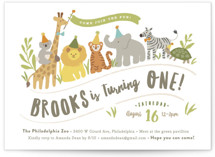 This is a green petite kids birthday invitation by Jennifer Wick called Animals on parade with standard printing on signature in petite.