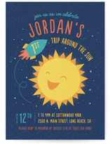 This is a blue petite kids birthday invitation by Cat Caudillo called Around The Sun with standard printing on signature in petite.