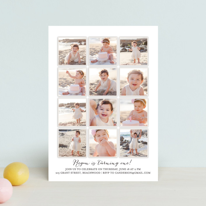 """""""Year in My Life"""" - Petite Children's Birthday Party Invitations in Cotton by Robin Ott."""