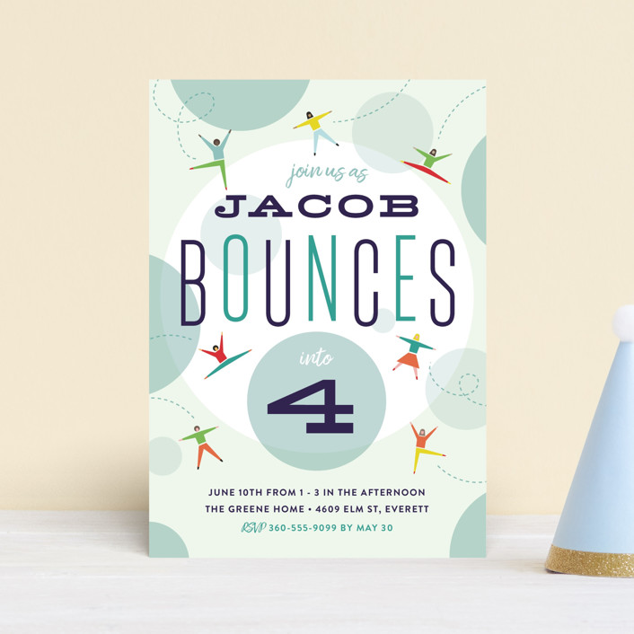 """""""Bounce into a birthday"""" - Petite Children's Birthday Party Invitations in Aquamarine by Heather Francisco."""