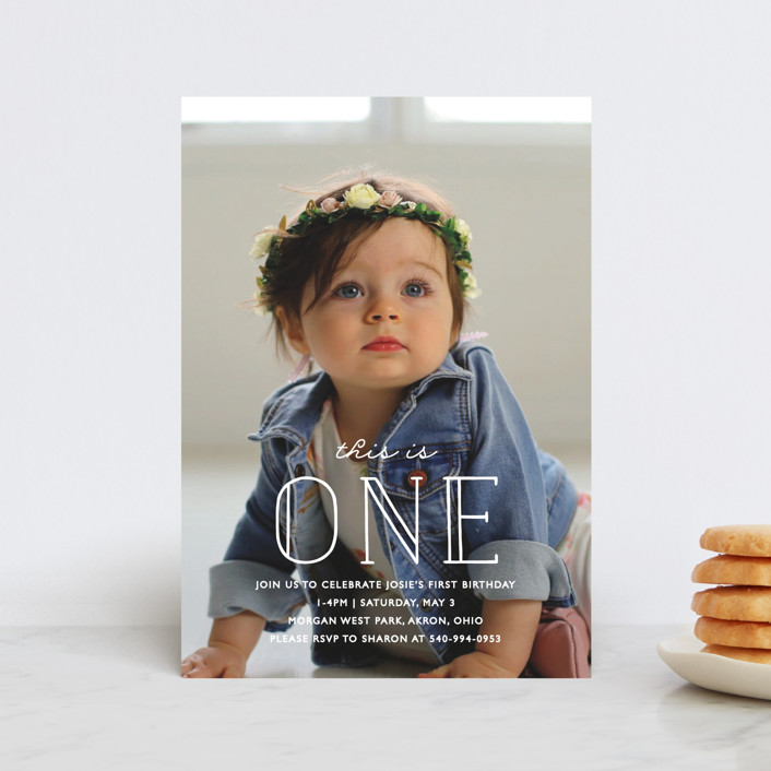 """""""This Is One"""" - Petite Children's Birthday Party Invitations in Frost by Bethany Anderson."""