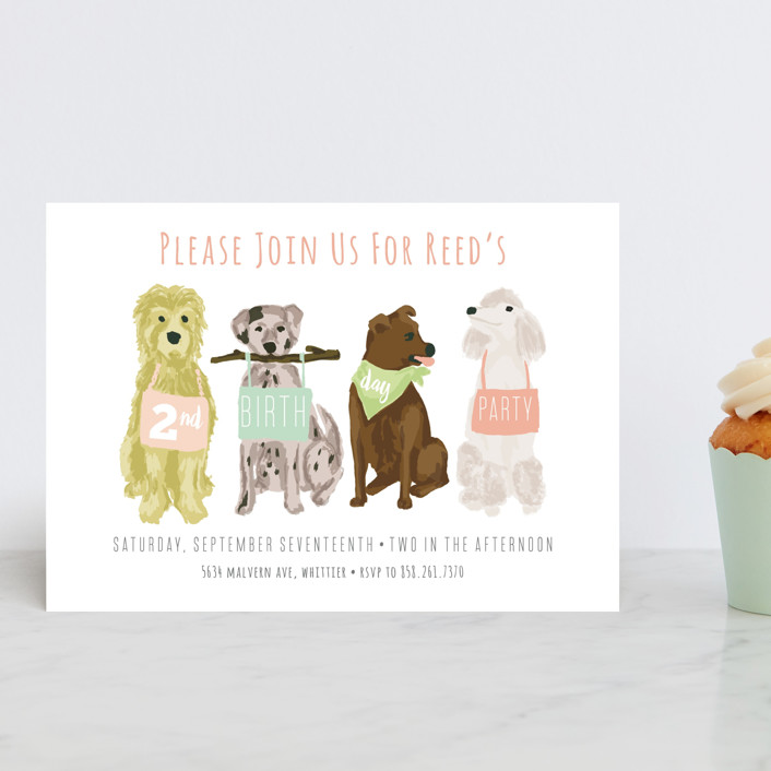 """""""Puppy Line-Up"""" - Petite Children's Birthday Party Invitations in Peony by Shiny Penny Studio."""