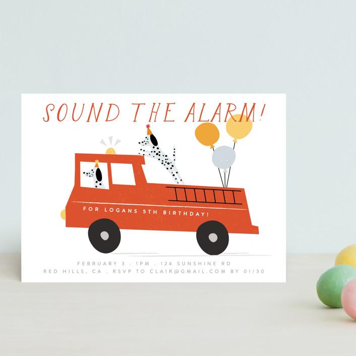"""Sound The Alarm!"" - Petite Children's Birthday Party Invitations in Dalmatian by Angela Thompson."