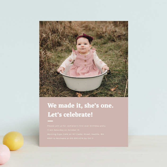 """""""Made it"""" - Petite Children's Birthday Party Invitations in Blush by Adelyn T.."""