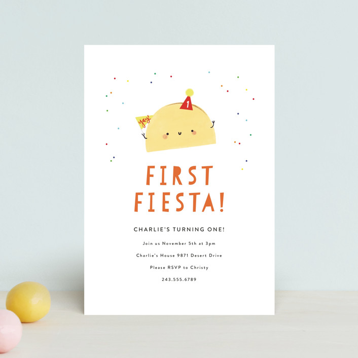 """""""1st Fiesta"""" - Petite Children's Birthday Party Invitations in Spicy by Itsy Belle Studio."""