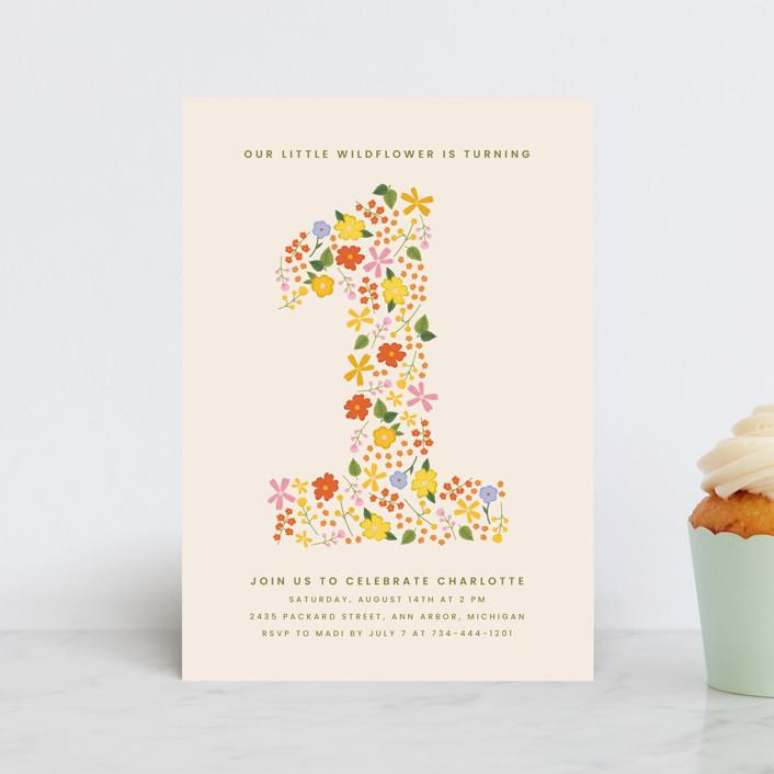 """""""little wildflower"""" - Petite Children's Birthday Party Invitations in Vibrant by Ellen Schlegelmilch."""