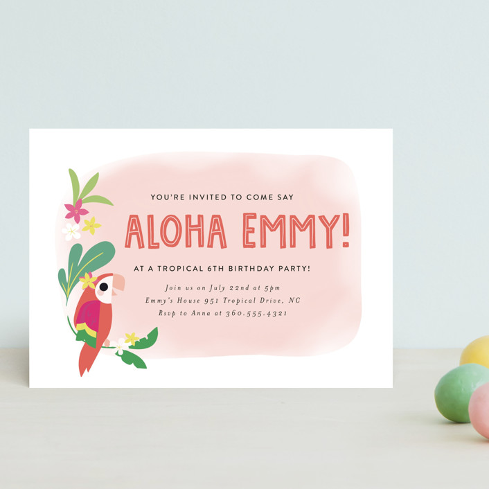 """""""Luau"""" - Petite Children's Birthday Party Invitations in Petal by Itsy Belle Studio."""