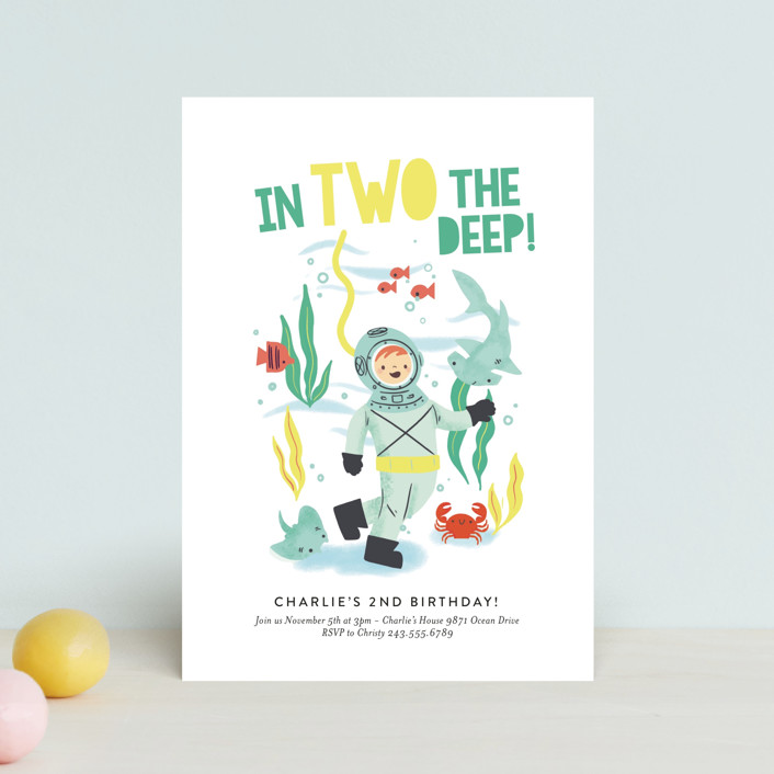 """""""Deep Dive"""" - Petite Children's Birthday Party Invitations in Sea Green by Itsy Belle Studio."""